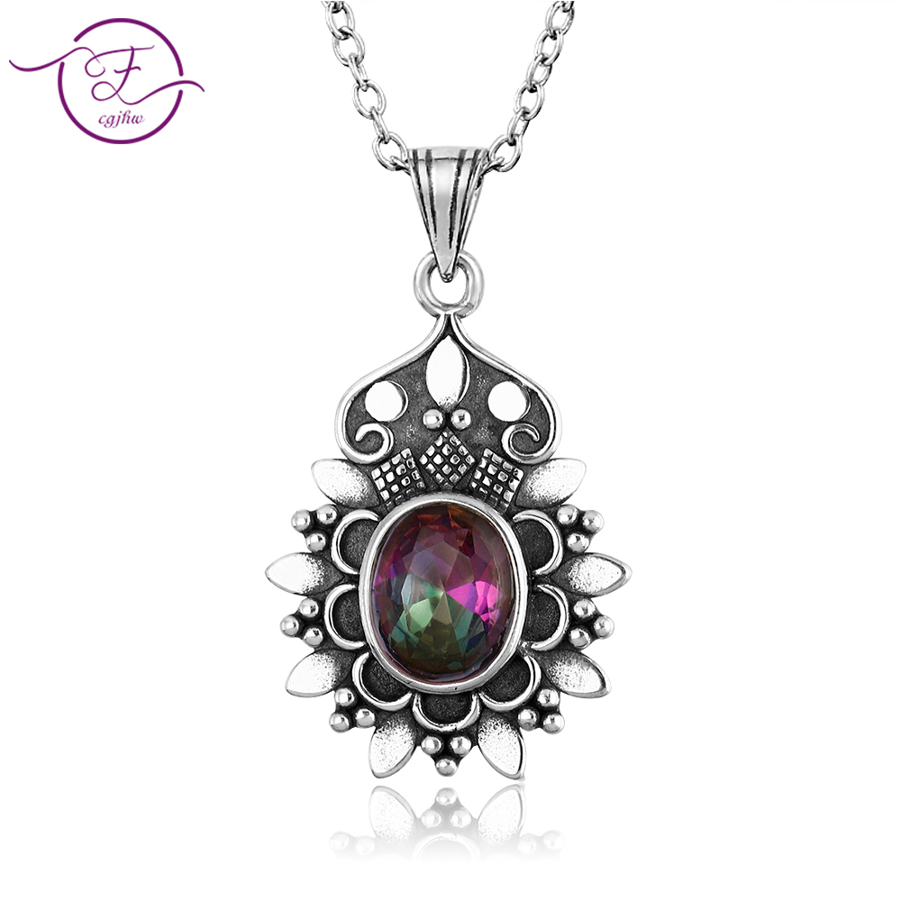 Jewelry S925 Sterling Silver Pendant Necklace Oval 7X9MM Color Fower-Shaped Pendant Necklace Ladies Gift Wholesale Party