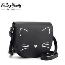Pures 숙 녀 핸드백 귀여운 검은 고양이 모양 어깨 가방 pu 소녀 crossbody 작은 가방 부드러운 여성 가방 선물 딸