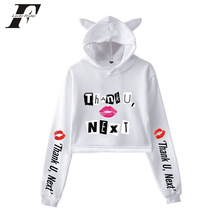 Ariana Grande Fashion Kawaii Cute Cat Crop Top hoodies Sweat