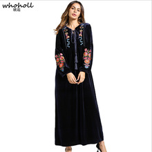 Womens Dress Velvet Embroidery 2019 Winter Maxi Abaya Robe Gowns Long Jilbab Muslim Middle East Islamic Clothing