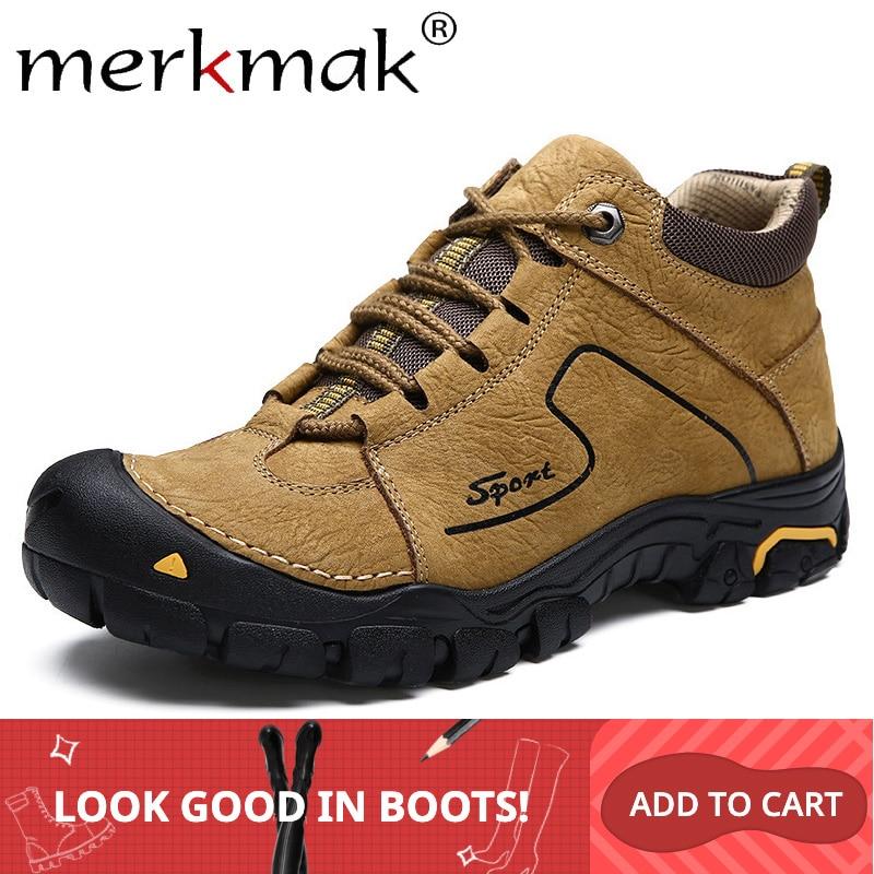 Merkmak Winter Genuine Leather Men's Boots Warm Fur Snow Men Boots Lace Up Casual Hiking Shoes Man Rubber Sole Non-slip Footwear