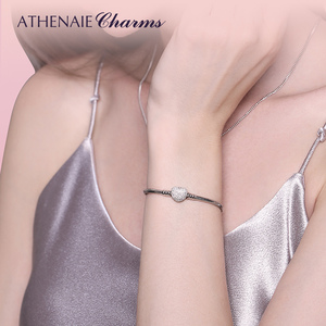Image 2 - ATHENAIE 925 Sterling Silver Snake Chain With Pave Clear CZ Heart Clasp Bracelet Fit All European Charm Beads Valentine Jewelry