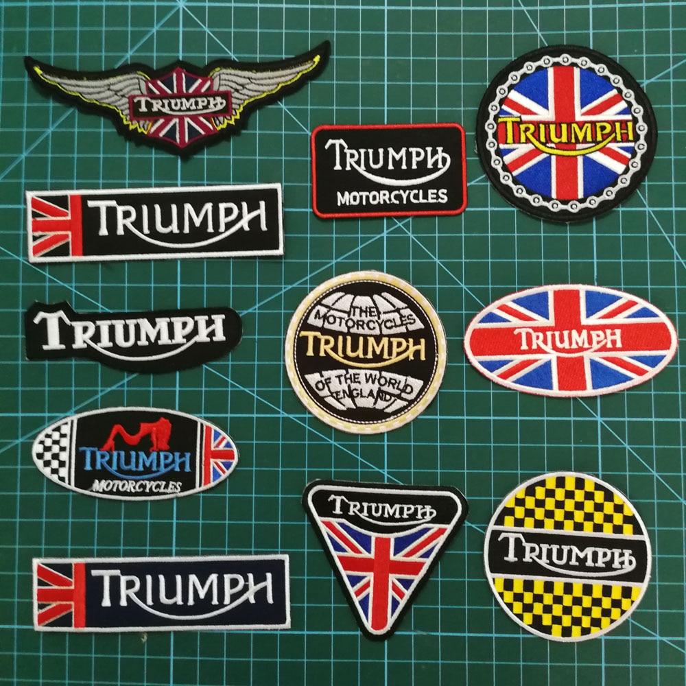 Motocicletas triumph remendos emblemas para motociclista colete ferro em remendos applique vestuário sapatos crachás ao vivo para andar motocicletas remendo