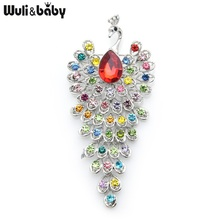 Brooch Pins Peacock Rhinestone Animal Office Women Gifts Weddings Baby Big Wuli Wuli