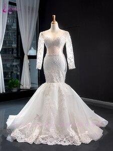 Image 2 - Waulizane 2020 كم طويل من 2 في 1 فستان الزفاف مشد الظهر رائع فستان عروس