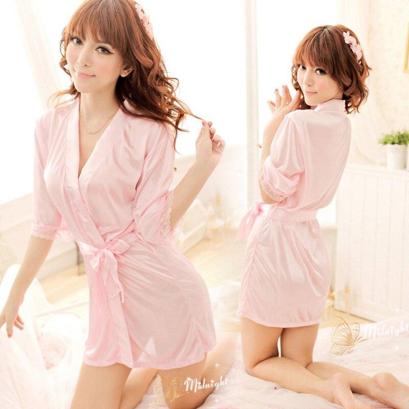 Women's New Products Imitated Silk Fabric Sexy Thin Pajamas Summer Short-sleeved Home Bathrobe Women's Sexy Pajamas