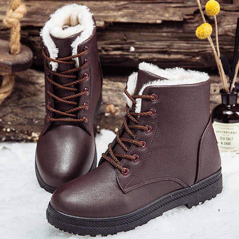 Kadın kar botları kış artı boyutu 41-44 çapraz bağlı sıcak yarım çizmeler kadın kauçuk peluş kadın çizme PU deri