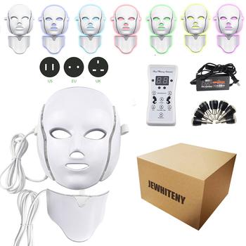 2 rodzaje 7 kolorów elektryczna Led maska na twarz twarzy urządzenie maskujące terapia światłem trądzik maska szyi piękno maska led Led terapia fotonowa tanie i dobre opinie SOLOLADY Z tworzywa sztucznego Electric 30 00*26 00*19 00cm 7 color LED Facial Mask Maszyna wykonana Odmładzanie skóry
