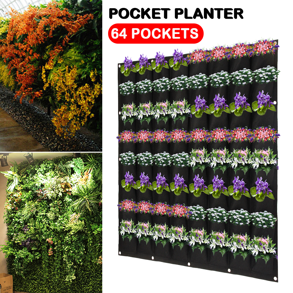Black Color Wall Hanging Planting Bags 64 Pockets Grow Bag Planter Vertical Garden Vegetable Living Garden Bag Home Supplies