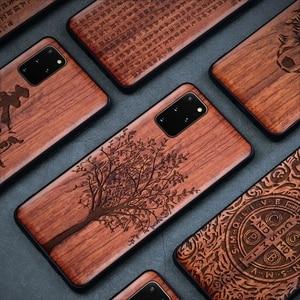 Image 5 - Caso de madeira real para samsung galaxy note 20 ultra 10 plus 5g s20 ultra s10 capa escultura em relevo casos para galaxy note10 + funda