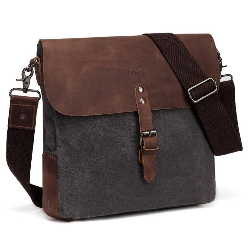 Waxed Canvas Tote Shoulder Bag Genuine Leather Handle Handbag For Men /& Women