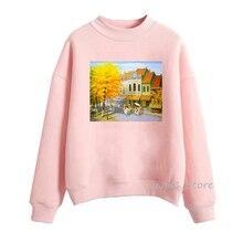 Winter 2019 Newest Women's sweatshirt kawaii watercolor tree print pink hoodie women sudadera mujer streetwear pullover clothes