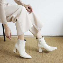 Ankle Boots Women High Heel Winter Boots Genuine Leather Square Heeled Boots A-51 chain design block heeled ankle boots