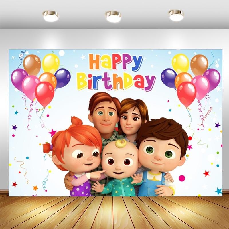 Cocomelon фон с днем рождения детей вечерние детского дня рождения воздушные шары фон для фотосъемки с изображением Декор баннер реквизит для с...