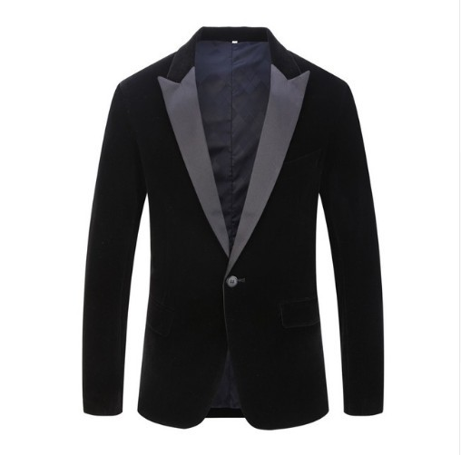 2019 Men'S Wear New Style Autumn And Winter Velvet Solid Color Fashion Casual Suit Wedding Groom Best Man Slim Fit Formal Dress