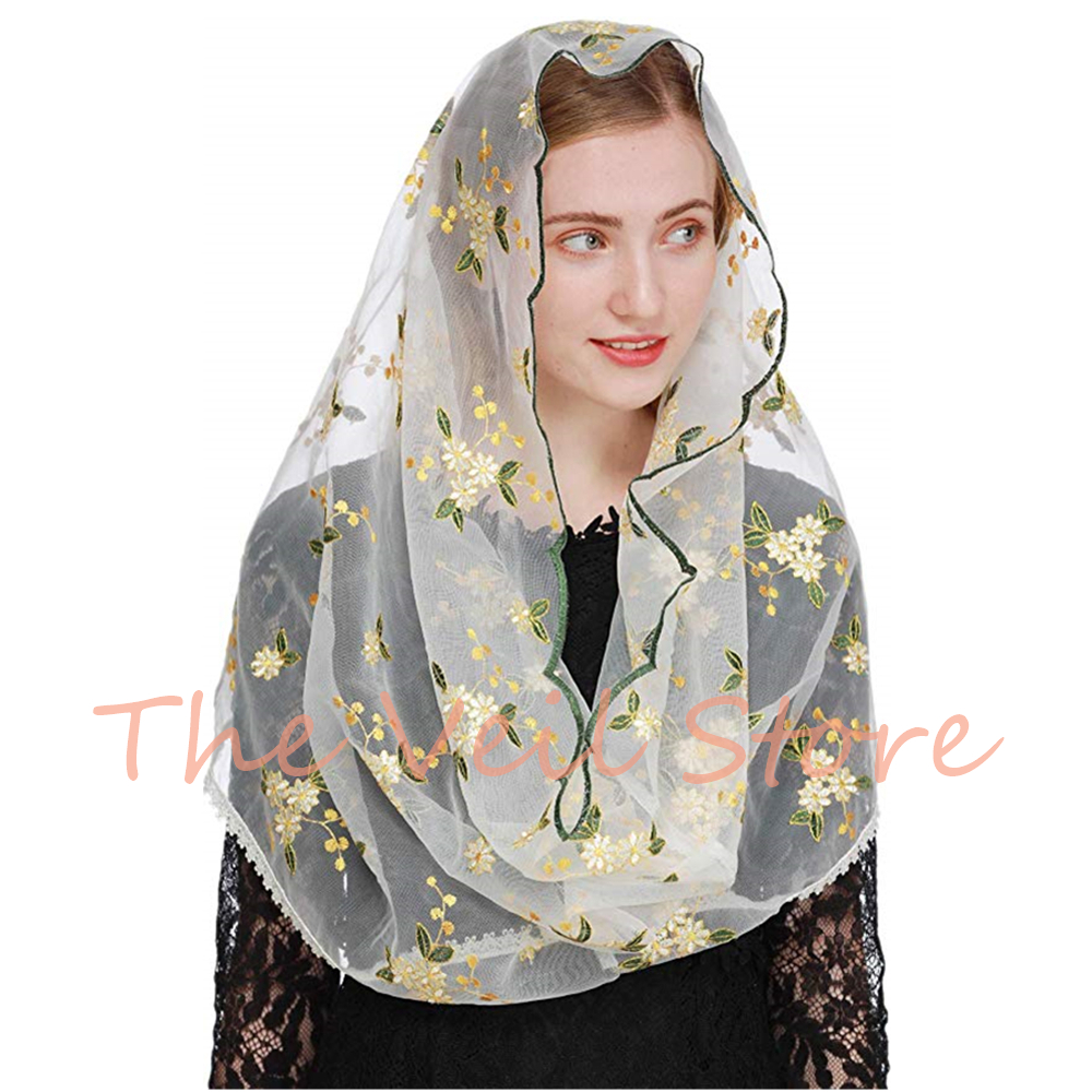 2020 NEW Round Veil For Church Catholic Colorful Tulle Lace Mantilla For Women Veils Latin Mass Headcovering MS2001