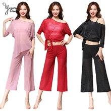 2020 New Bellydance Practice Clothes Costume Soft Comfortable Loose Dance Practice Costume Adult Yoga Pants Off Shoulder Tops