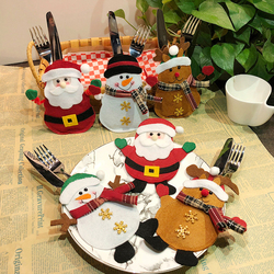1pcs Santa Hat Reindeer Christmas New Year Pocket Fork Knife Cutlery Holder Bag For Home Party Table Dinner Decoration