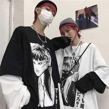 NiceMix Harajuku חולצה נשים מזויף 2 חתיכות הדפסת יפני Fujiang אימה קומיקס ארוך שרוול חולצה נשים Vetement Femme 2020חולצות טריקו