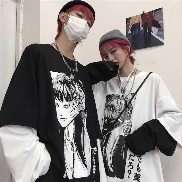 NiceMix Harajuku T shirt Women Fake 2 Pieces Print Japanese Fujiang Horror Comics Long Sleeve Shirt Women Vetement Femme 2020T-Shirts