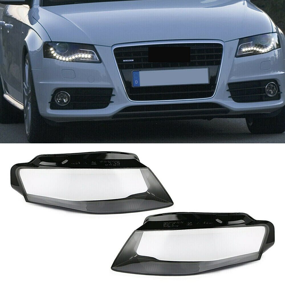 For Audi A4 B8 2009-2012 Car Replacement Headlights Mask Front Headlights Glass Lamp Cover Transparent Shell Lamp Masks
