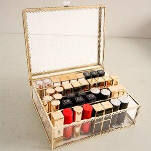 Пылезащитный органайзер для макияжа, стеклянный ящик для хранения теней, пудры, туалетный столик, держатель для помады, косметический диспл...