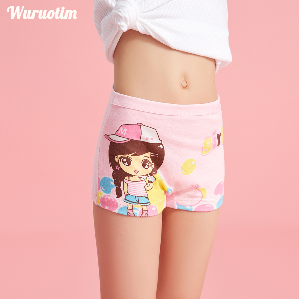 4 Pcs/lot Children Panties Soft Cotton Stretchable Girl Underwear Lovely Cartoon Kids Panties Children's Clothing For Girl 2-12Y