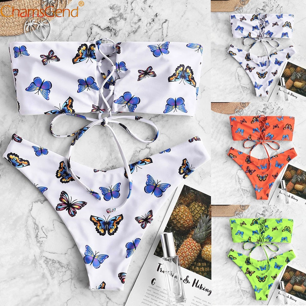 Women Bikini Swimsuit Butterfly Print Strapless Swimsuit Push Up Padded Female Bathing Low Waisted Brazilian Girls Sexy Swimwear