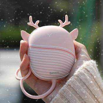 Baseus Heater Hand Warmer Heating Pad USB Rechargeable Handy Warmer Heater Pocket Mini Cartoon Electric Heater Warm With Lamp