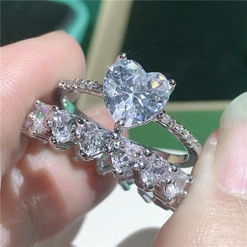 Женское кольцо обещание в форме сердца, вечерние серебра 925 пробы