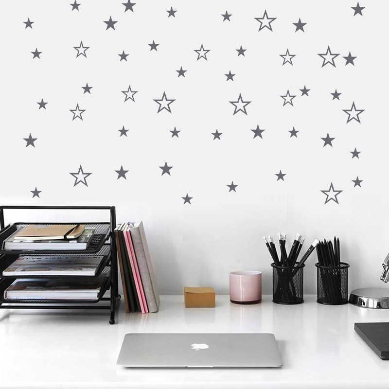 48ps الجوف الصلبة مختلطة نجوم ملصقات جدار للأطفال غرفة ديكور المنزل هدايا الأطفال النجوم الصغيرة جدار ديكور الإبداعية الفينيل جدارية