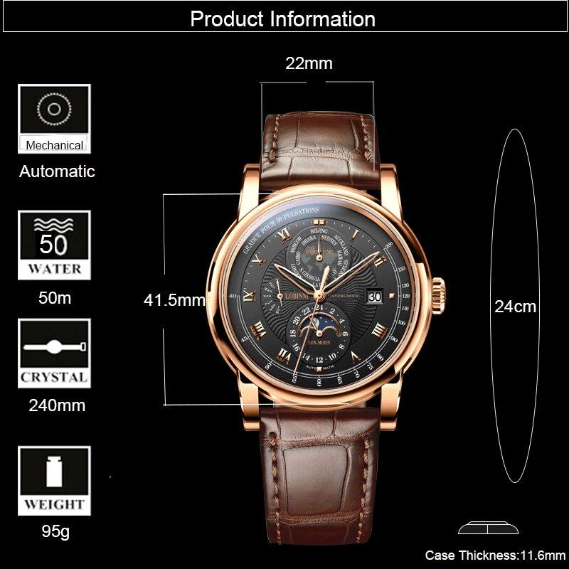 LOBINNI Luxe Merk Automatische Mechanische Horloges Man Lederen 50m Waterdicht Heren Skeleton Horloge Rose Gold Sapphire Montre Homme - 2