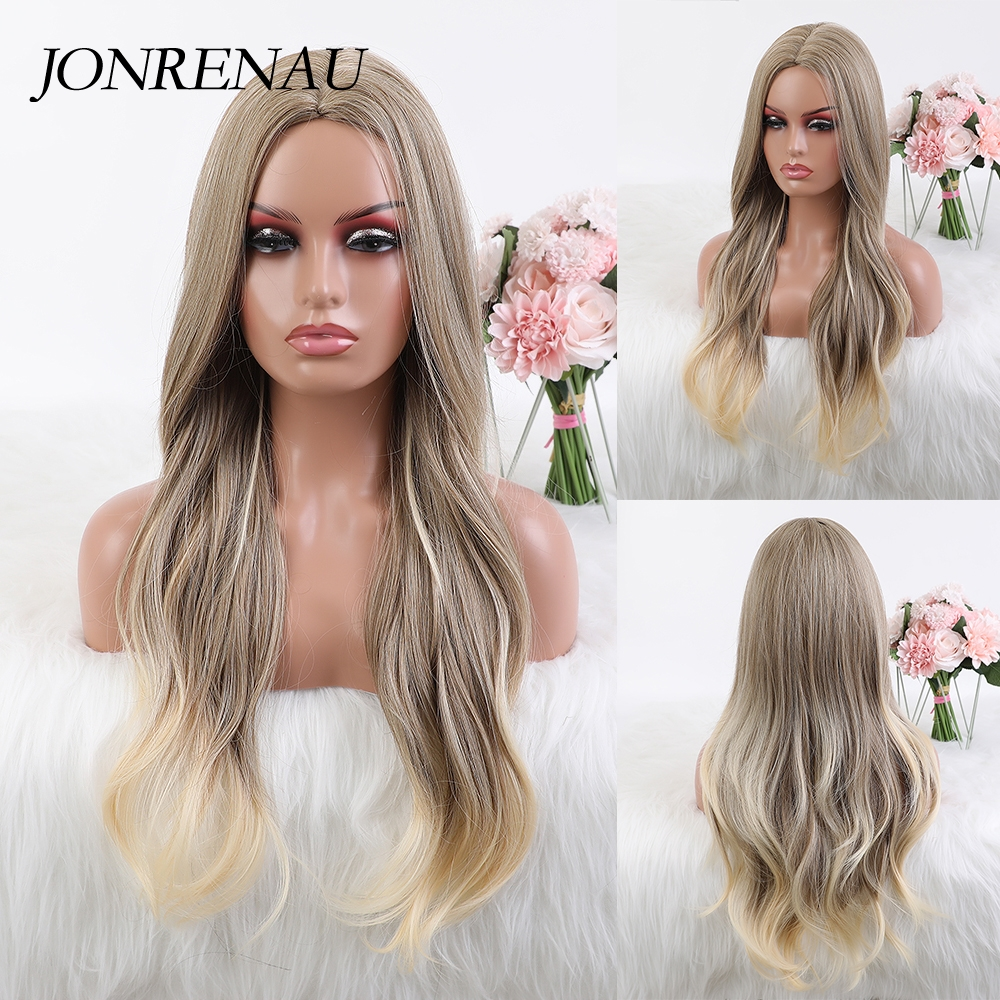 JONRENAU Long Wavy Light Ash Brown Synthetic Wig for Girl Women Daily use Cosplay Hair Wigs Colorful High Temperature Fiber