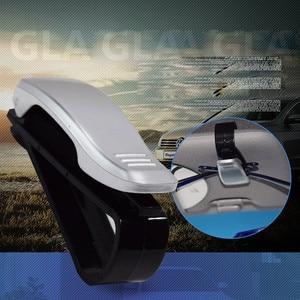 Image 5 - Gläser Halter Auto Zubehör Sonnenbrille Halter ABS Auto Verschluss Sonnenblende Gläser Fall Ticket Clip Karte Halter Halterung