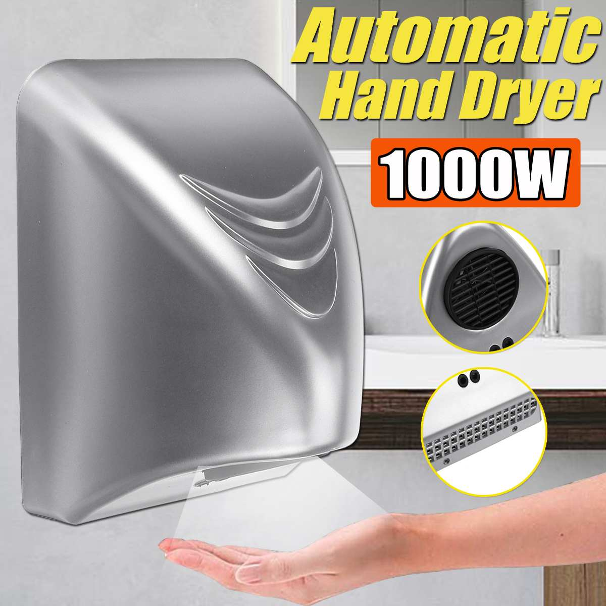 1000W Powerful Hand Dryer Hotel Commercial Hand Dryer Electric Automatic Induction Hands Drying Device Bathroom Winding Machine