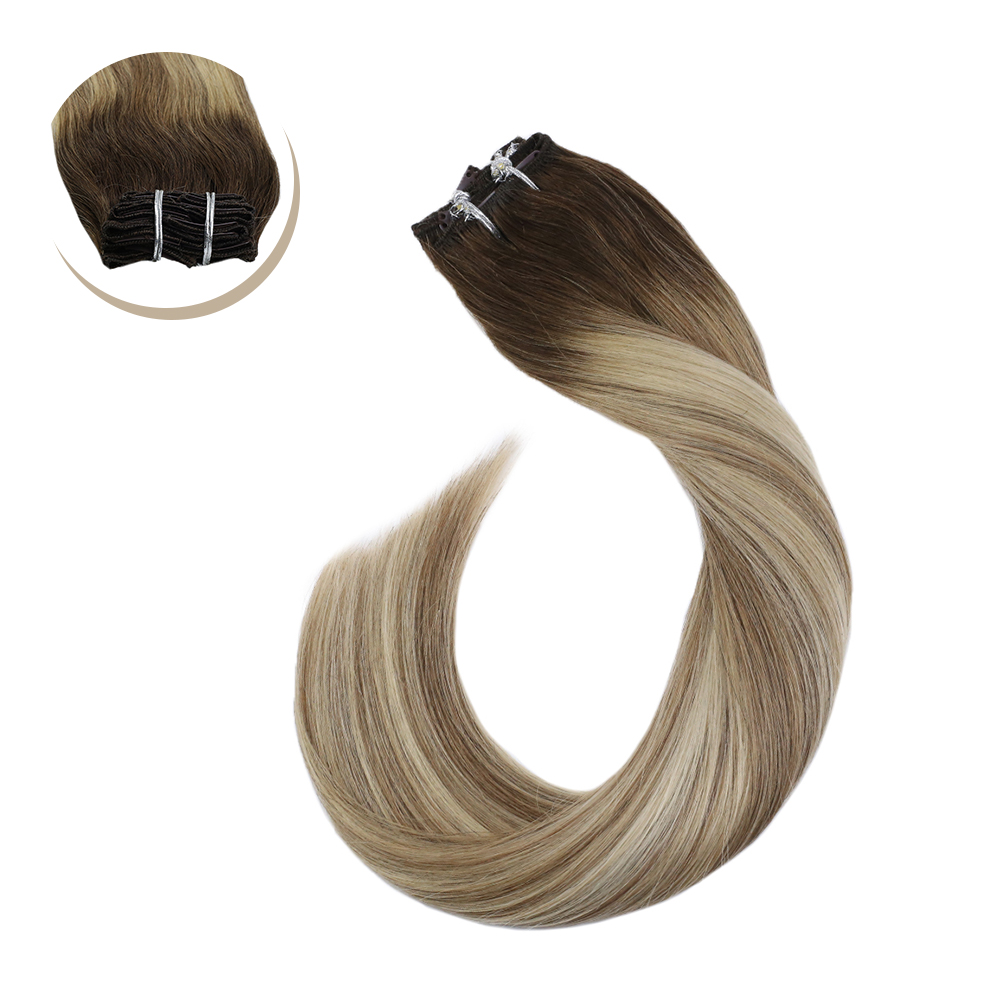 Clip In Hair Extensions Real Brazilian Hair Balayage Blonde Hair 14-24