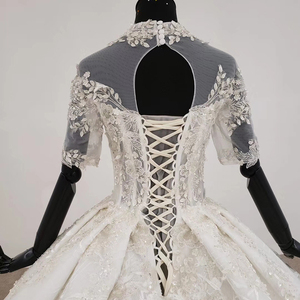 Image 5 - HTL1231 2020 lace wedding dress high neck half sleeve applique beading  crystal lace upback  bride dressing gown suknie slubne