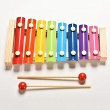 Музыкальный инструмент, игрушка с деревянным каркасом ксилофон для детей, детские игрушки, детские развивающие игрушки, подарки с 2 молотками
