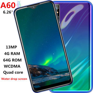A60 smartphones Water drop 6.26inch 4GRAM 64G ROM quad core 13mp Face ID unlocked android mobile phones celulares Global Version