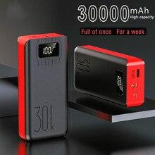 Banco de energía de 30000mAh, batería externa portátil, Cargador rápido para todos los teléfonos inteligentes con cargador, doble USB, resistente al agua