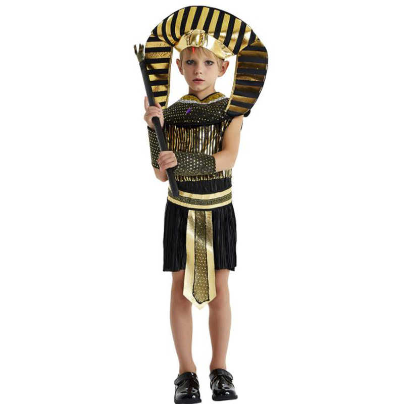 ハロウィン衣装少年少女古代エジプトエジプトファラオクレオパトラ王子王女の衣装子供のためのコスプレ黒の cos