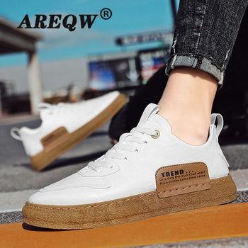 Męskie buty męskie buty na co dzień 2021 wiosna nowe PU skórzane buty męskie męskie buty modne oddychające męskie buty tanie i dobre opinie AREQW PŁÓTNO CN (pochodzenie) Na wiosnę jesień Buty casualowe Sznurowane Dobrze pasuje do rozmiaru wybierz swój normalny rozmiar
