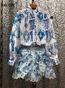 Высококачественные Новые короткие комплекты, летний костюм из двух предметов 2020, женские синие розовые рубашки с геометрическим принтом + к...