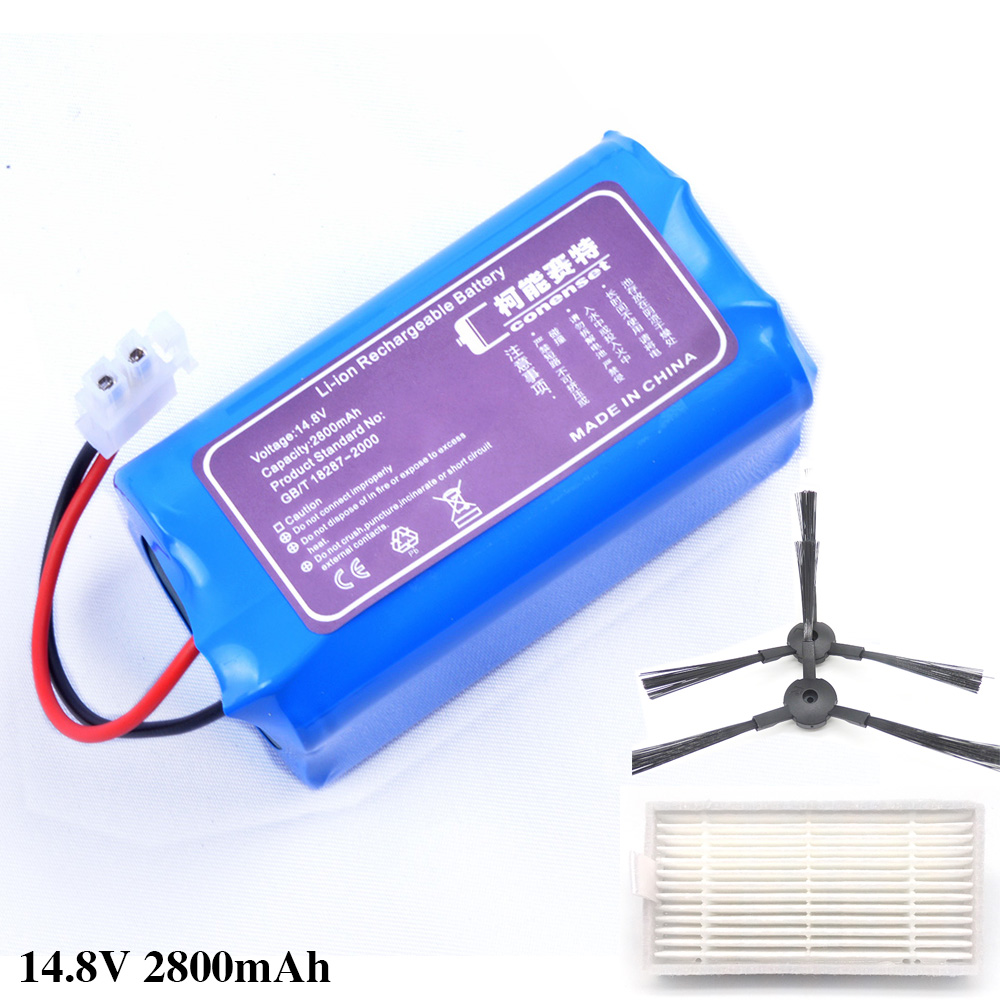 14.8V 2800mAh Replacement Battery For Ilife A4 A4S A6 V7 V7s V7s Pro X620 Robot Vacuum Cleaner Battery And 1*filter+2*brush