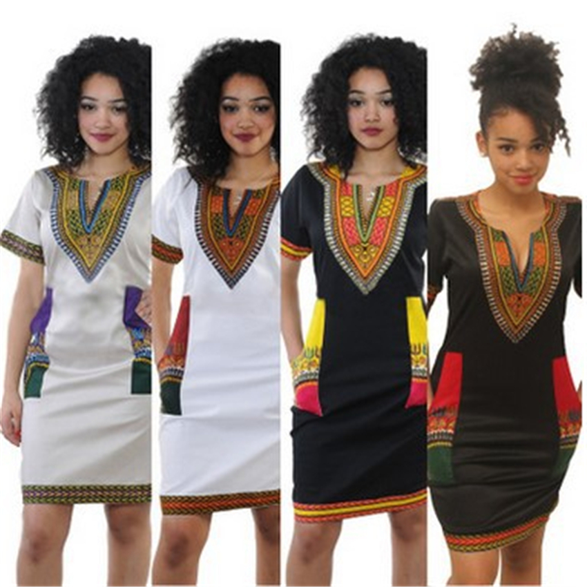 Africa National Style Print Dress Woman Summer Retro Short Sleeve Dashiki Riche Bazin S-3XL V-neck African Clothing For Women