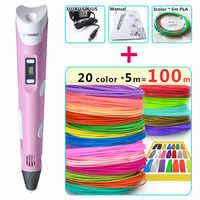 myriwell 3d pens + 20 * 5m ABS Filament,pen 3 d pen 3d model,Best Gift for Kids Creative 3d printer pen-3d magic pen