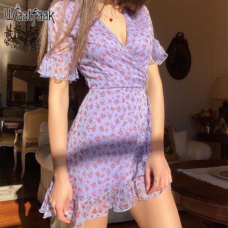 Waatfaak Floral Chiffon Sommer Kleid Frau 2020 Sexy Lila Kurzarm Wrap Kleid Mini Vintage Damen Kleider Bandage Rüschen