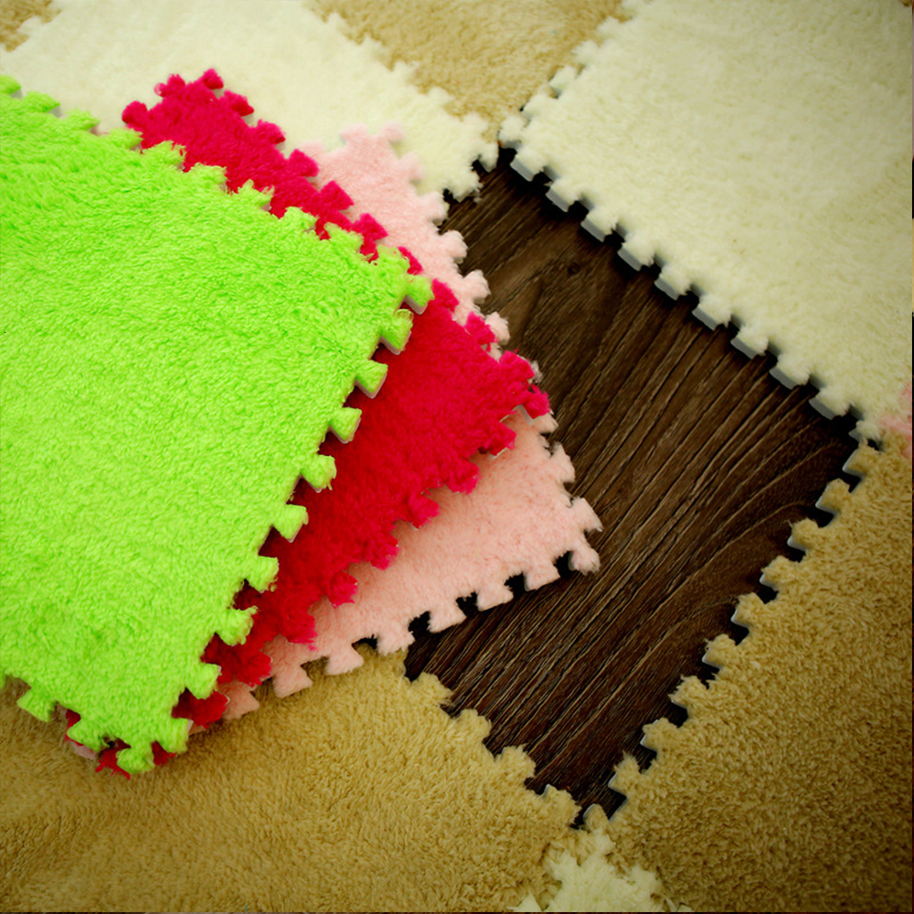 10 Pieces / Soft 30*30 Cm Children Plush Carpet Parquet Floor Puzzle Carpet Baby Game Pad Crawling Mat Baby Play Mat | Happy Baby Mama