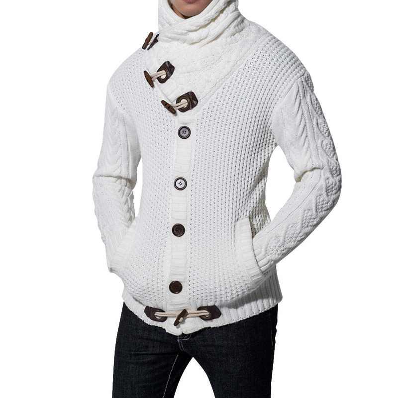 패션 빈티지 스웨터 카디건 남자 겨울 따뜻한 터틀넥 스웨터 뜨개질 트리코 점퍼 뿔 버클 두꺼운 캐주얼 아웃웨어