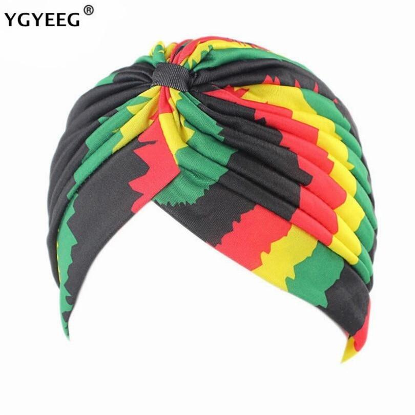 YGYEEG 2019 Women High Quality Women's New Fashion Dot Rasta Turban Indian Style Head Cap Hat Hair Cover Various Print Design